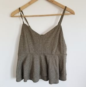 Dynamite heathered cropped ruffle camisole top